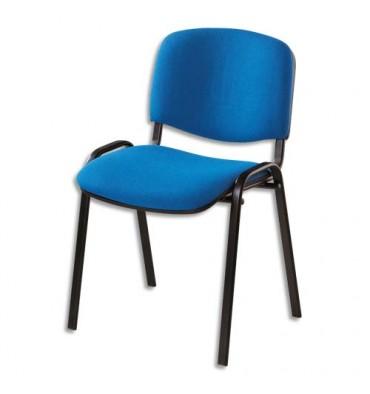 Chaise de conférence Iso Classic en tissu polyfibre bleu, structure 4 pieds en métal époxy noir