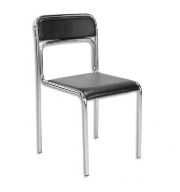 Chaise de conférence Ascona en simili cuir noire, structure en acier époxy chromé. Empilable