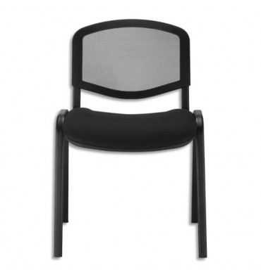Chaise de conférence Iso Ergo Mesh dossier résille et assise tissu noirs, 4 pieds tube époxy noir