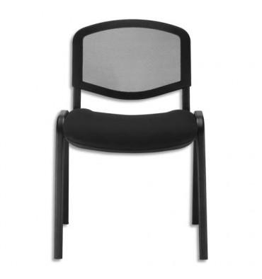 SIEGE Chaise de conférence Iso Ergo Mesh 4 pieds tube époxy noir, dossier résille noir assise tissu noir