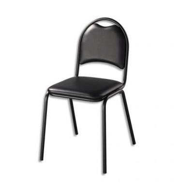 Chaise de collectivité Elite noire en vinyle, piètement an acier époxy noir. Empilable