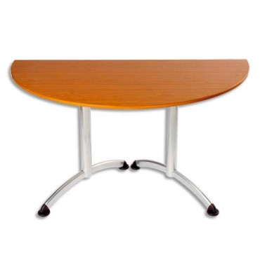 SODEMATUB Table New Line demi-lune merisier alu