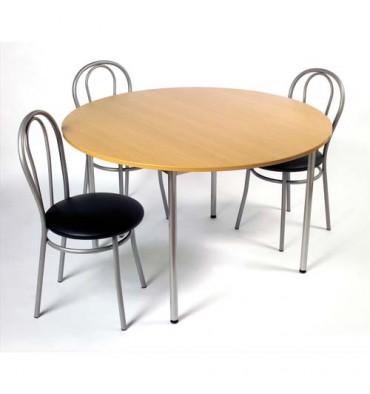 SODEMATUB Table collectivité hêtre aluminium cafétéria ronde diamètre 120 cm