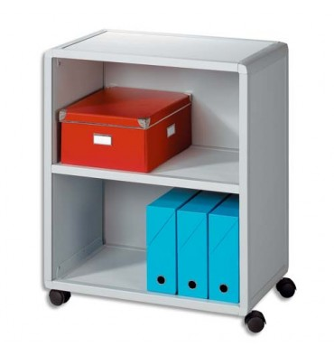PAPERFLOW Desserte modulable 2 cases gris, 2 espace rangement pour classement horizontal et vertical