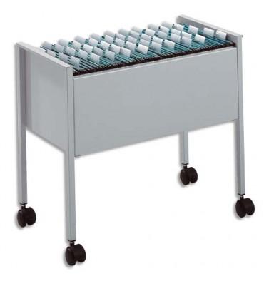 DURABLE Chariot pour 50 dossiers suspendus Gris en acier - roulettes avec freins - 65,5 x 59,2 x 36,8 cm