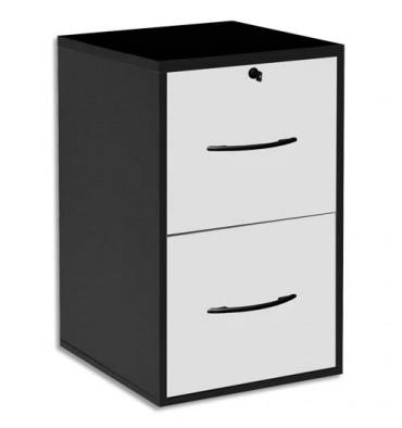 MT INTERNATIONAL Classeur mélaminé 2 tiroirs pour dossier suspendu noir, façade tiroir blanc 42 x 69 x 44 cm