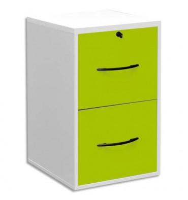 MT INTERNATIONAL Classeur mélaminé 2 tiroirs pour dossier suspendu blanc, façade tiroir vert pomme 42 x 69 x 44 cm