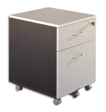 SIMMOB Caisson mobile 2 tiroirs dt 1 pour DS gris clair/anthracite - Dimensions : L41 x H56 x P50 cm