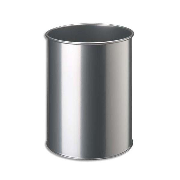 Durable corbeille papier gamme confort m tal 15 litres gris - Corbeille a papier metal ...