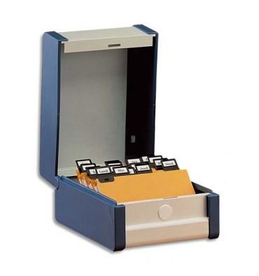 VALREX Boîte à fiches Provence format A5 en largeur H148 x P210 mm bleu, livré avec séparateur métallique