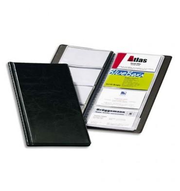 DURABLE Porte-cartes de visite Visifix noir capacité 96 cartes aspect grain de cuir