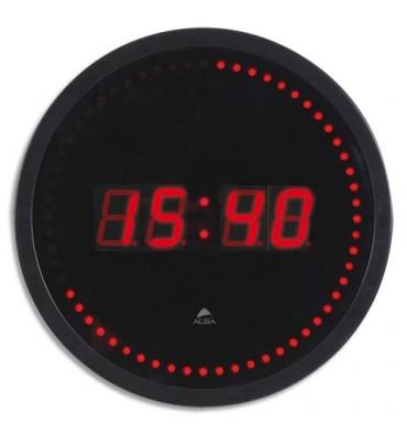ALBA Horloge à led Horled cadre plastique noir lentille en verre D 30 cm affichage numérique rouge à quartz