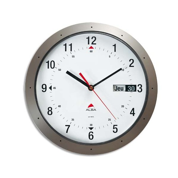 ALBA Horloge murale ronde gris anthracite diamètre 30 cm avec dateur (photo)