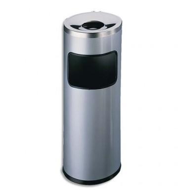 DURABLE Corbeille à papier métal et cendrier étouffoir gris anthracite 17+ 2 litres Diam 25 x H 63 cm