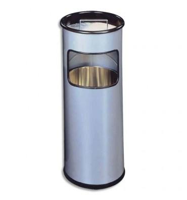 DURABLE Corbeille ronde avec cendrier sable argenté 17+ 2 Litres Diam 26 x H 62 cm