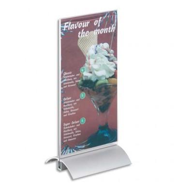 DURABLE Présentoir de table base en aluminium et plaque transparente A5 - L15 x H23,7 x P8,5 cm