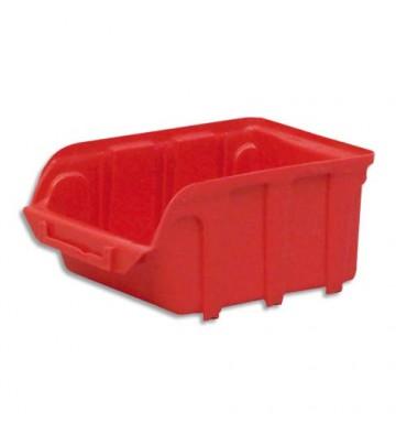 VISO Bac de rangement à bec 1L Tekni avec porte étiquette en polypropylène rouge 10 x 7 x 16 cm