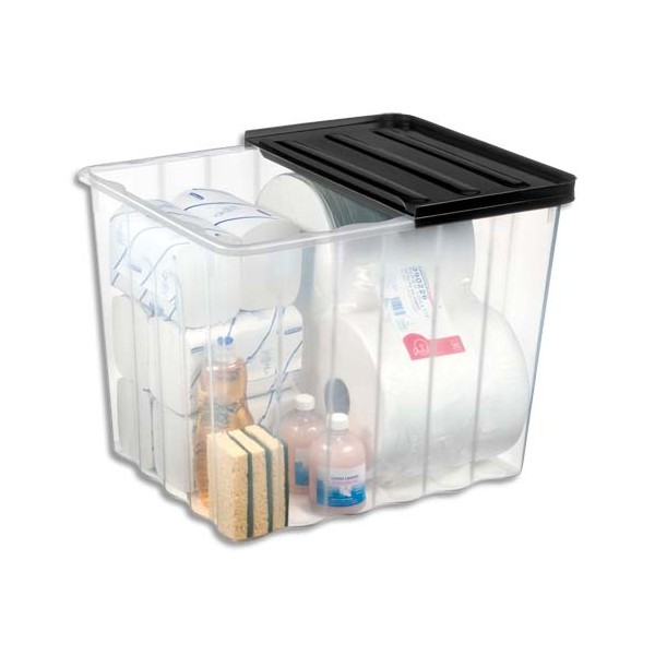 cep bo te rangement plastique supa nova 110 litres transparent. Black Bedroom Furniture Sets. Home Design Ideas