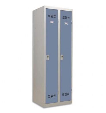 PIERRE HENRY Vestiaire métal industrie propre 2 casiers largeur 60 cm gris perle bleu