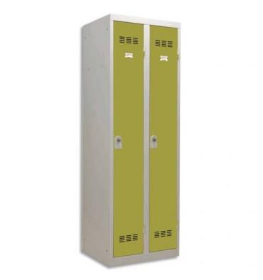 PIERRE HENRY Vestiaire métal industrie propre 2 casiers largeur 60 cm gris perle anis