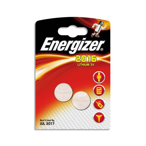 ENERGIZER Blister 2 piles CR2016 Lithium (photo)