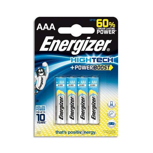 ENERGIZER Blister 4 piles Alcalines 1,5V AAA LR03 High tech Power Boost (photo)
