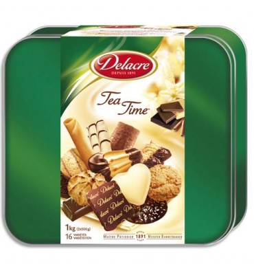 DELACRE Boîte de 1kg de biscuits Tea Time