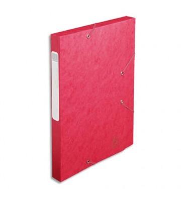 EXACOMPTA Chemise 3 rabats et élastique Cartobox dos de 2,5 cm, en carte lustrée 5/10e rouge