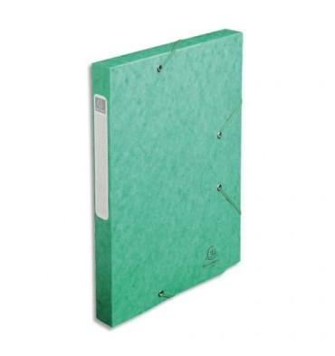 EXACOMPTA Chemise 3 rabats et élastique Cartobox dos de 2,5 cm, en carte lustrée 5/10e vert