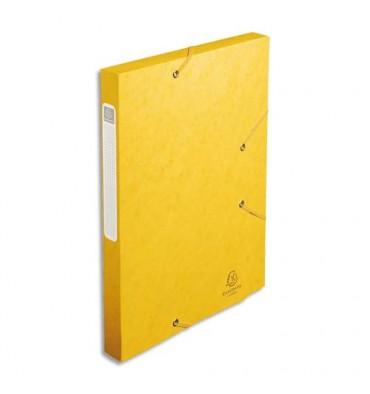 EXACOMPTA Chemise 3 rabats et élastique Cartobox dos de 2,5 cm, en carte lustrée 5/10e jaune