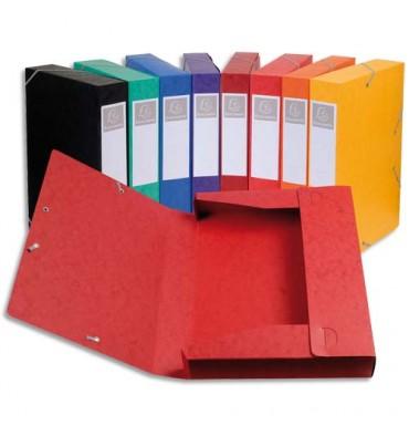 EXACOMPTA Chemise 3 rabats et élastique Cartobox dos de 4 cm, en carte lustrée 5/10e assortis