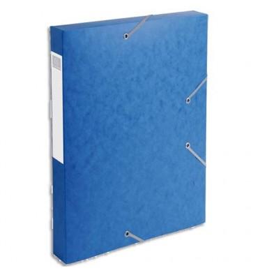 EXACOMPTA Chemise 3 rabats et élastique Cartobox dos de 4 cm, en carte lustrée 5/10e bleu