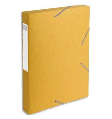 EXACOMPTA Chemise 3 rabats et élastique Cartobox dos de 4 cm, en carte lustrée 5/10e jaune
