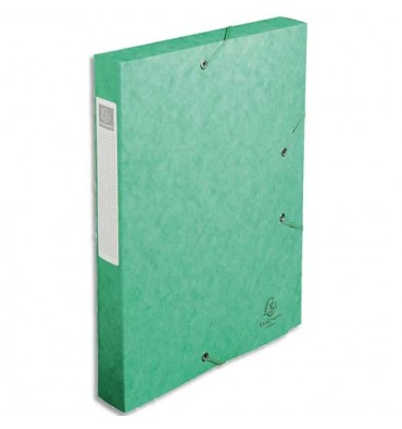 EXACOMPTA Chemise 3 rabats et élastique Cartobox dos de 4 cm, en carte lustrée 5/10e vert