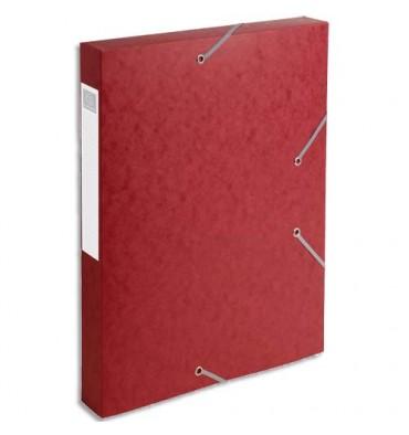 EXACOMPTA Chemise 3 rabats et élastique Cartobox dos de 4 cm, en carte lustrée 5/10e rouge