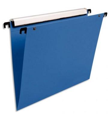 ESSELTE Pack de 10 dossiers suspendus TIROIR en polypropylène opaque. Fond V, bouton-pression. Bleu