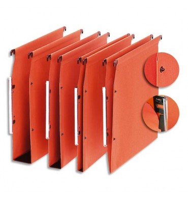 5 ETOILES Boite de 25 dossiers suspendus ARMOIRE en kraft 220g. Fond 30 mm, volet agrafage + pression. Orange