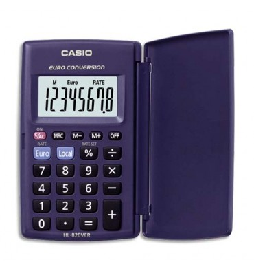 CASIO Calculatrice de poche étui rigide conversion euro 8 chiffres HL820VER
