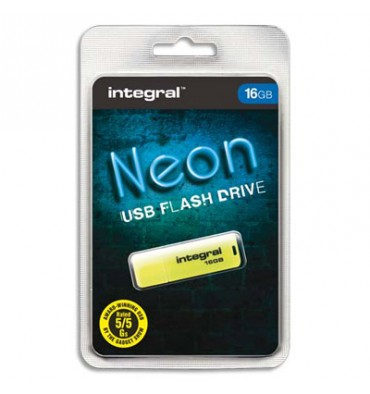 INTEGRAL Clé USB 2.0 NEON 16Go Jaune INFD16GBNEONYL+ redevance