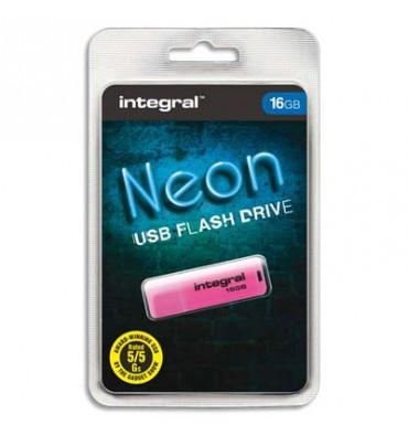 INTEGRAL Clé USB 2.0 NEON 16Go Rose INFD16GBNEONPK+redevance