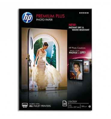HP Boîtes 25 feuilles papier photo Premium Plus 10x15cm, finition brillant 300g