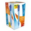 PAPERMATE Boîte de 100 Stylos bille rétractables, pointe moyenne, encre ULV bleue (80+20 gratuits)