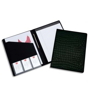 REXEL Porte-documents format A4. Couverture motif Croco noir + carnet de notes A4 ligné