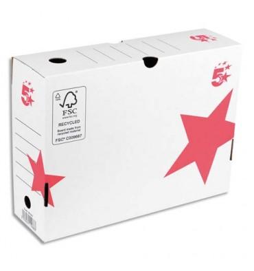 5 ETOILES Boîte à archives dos de 10 cm, en carton ondulé kraft blanc