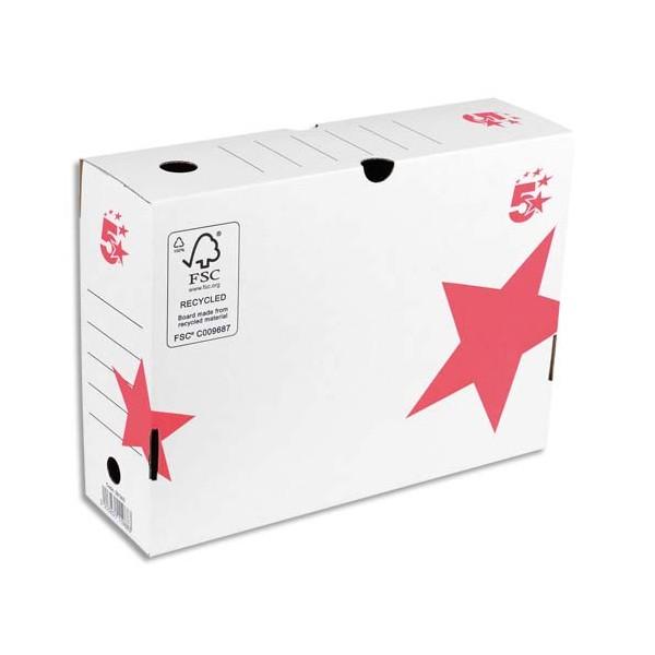 5 ETOILES Boîte à archives dos de 10 cm, en carton ondulé kraft blanc (photo)