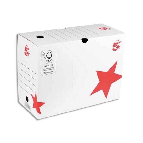 5 ETOILES Boîte à archives dos de 20 cm, en carton ondulé kraft blanc (photo)