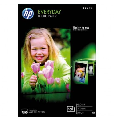 HP Pack de 100 Papier photo brillant 200g 10x15 cm