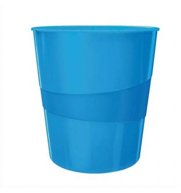 LEITZ Corbeille à papier 15L - WOW bleu