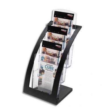 DEFLECTO Porte-brochures 3 compartiments 1/3 A4 Contemporary + porte-cartes L17,1 x H34,9 x P15,6 cm transparent