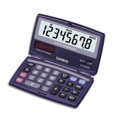 CASIO Calculatrice de poche pliable conversion euro SL100VER